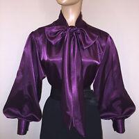 Plum Purple Shiny Liquid Satin Bow Blouse Top Vtg High Neck S M L 1x 2x 3x