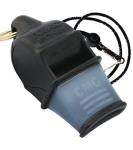 Fox-40-Sonik-Blast-CMG-2-Chamber-Pealess-Whistle-with-Lanyard-Black