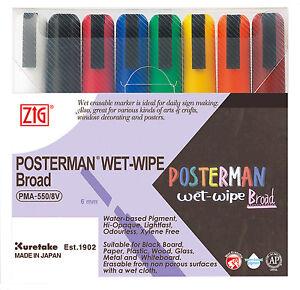 Zig-Posterman-Wet-Wipe-Marker-Broad-Assorted-Pack-of-8