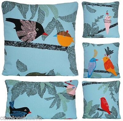 Ikea Blue Cushion Cover Bird Pillow Case Printed Fabric Black Orange Red Square