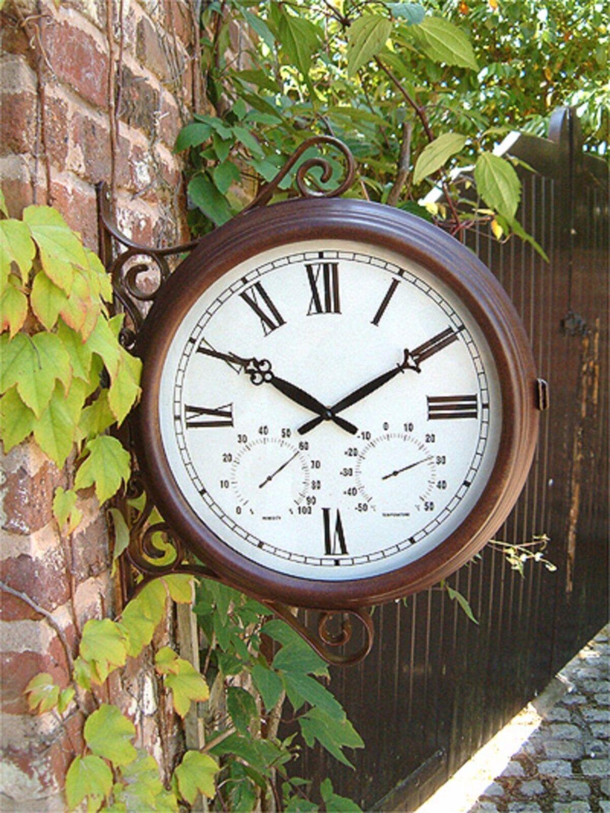 orologio Stazione a Doppio Lato, con Termometro, per il giardino