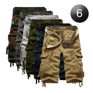 Casual-Mens-Cotton-Summer-Army-Combat-Camo-Work-Cargo-Shorts-Pants-Trousers-3-4