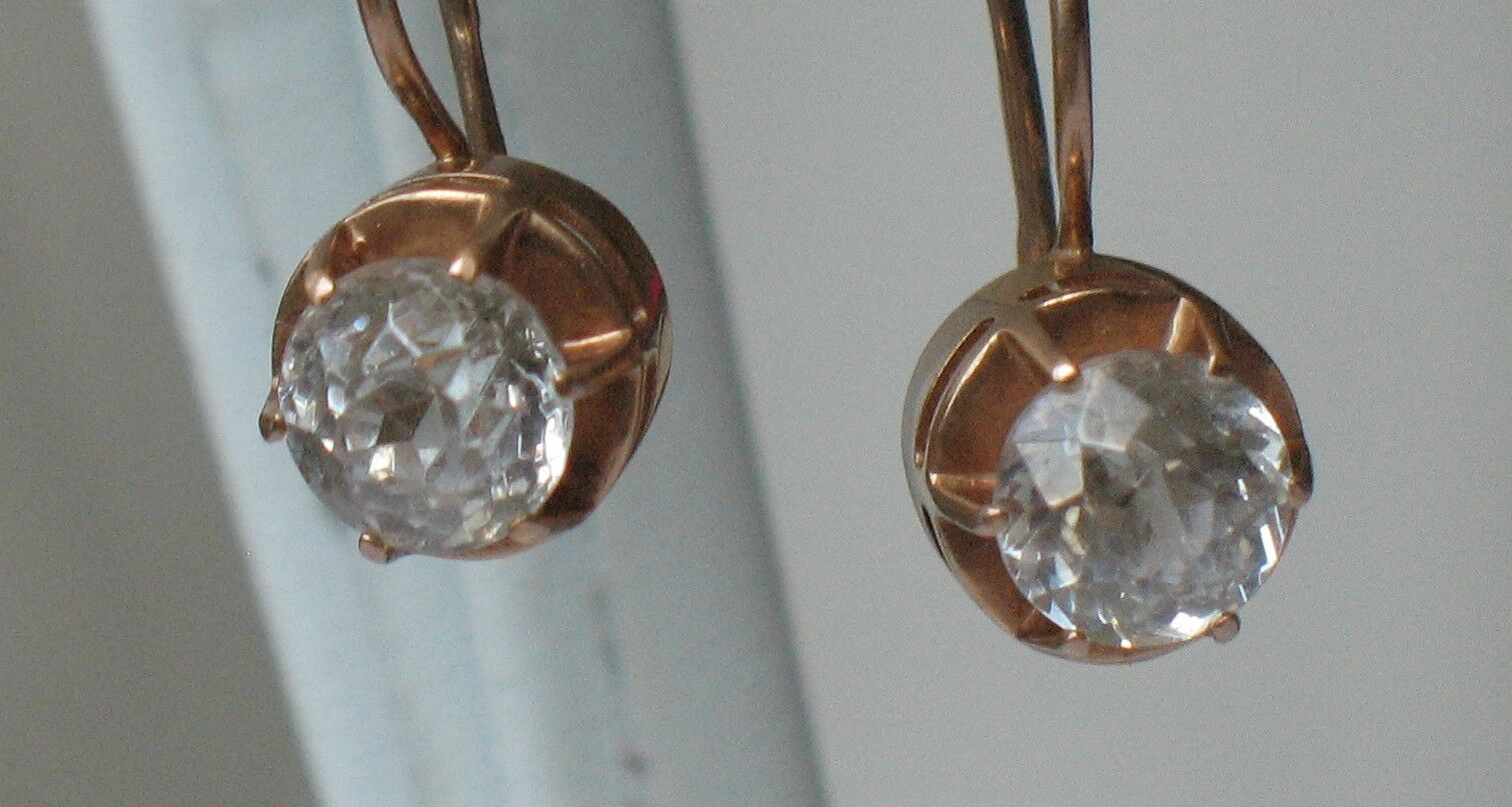 Antique Russian gold Au 583 14k Earrings Vintage White Stone Fianit Chrystal Old