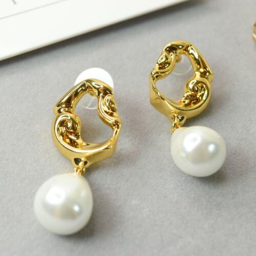 Baroque Brass Pearl Earrings