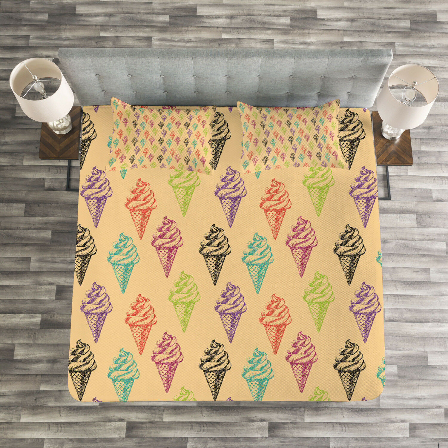 Ice Cream Quilted Bedspread & Pillow Shams Set, Grunge Icons Print