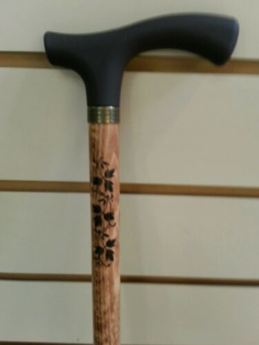Walking stick soft touch handle wooden.with pattern on shaft and rubber ferrule