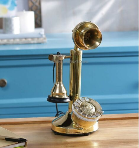 NEW BRASS-CHROME KING-LOOK CANDLESTICK ROTARY-DIAL-VINTAGE-TELEPHONE-HANDMADE