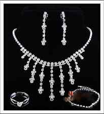Bling Silver Necklace,Bracelet, Earrings, Ring Bridal Wedding Party Jewelry Set