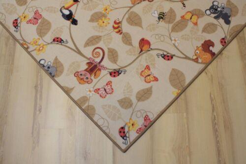 Kinder Teppich Spielteppich Jungle Velours beige 200x330 cm Dschungel