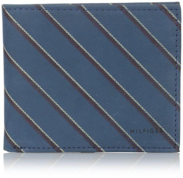 NEW TOMMY HILFIGER MEN'S LEATHER CREDIT CARD WALLET BILLFOLD COBALT 31TL13X043