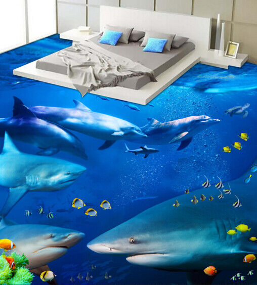 3D Sharks And Dolphins 6 Floor WallPaper Murals Wall Print Decal AJ WALLPAPER