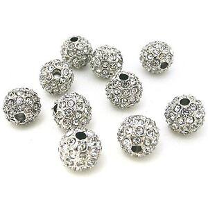 SALE Silver Tone CZ Crystal Pave Disco Rhinestone Balls Metal Beads Loose Spacer