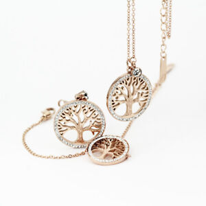18K-Rose-Gold-Filled-Tree-of-Life-Inlay-Crystal-Earrings-Bracelet-Necklace-Set