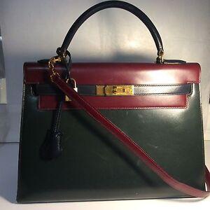 Details about Vintage Hermes Kelly Bag 32 Box Leather Tricolor Navy Green Wine Handbag Straps