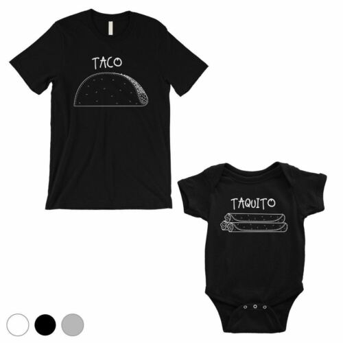 Taco Taquito Dad and Baby Matching Outfits White