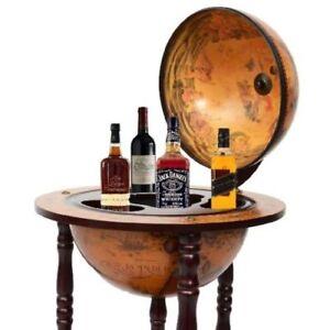 Image Is Loading Italian Style Globe Bar Server Wooden Pub Wine