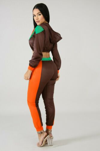 Net I Don/'t Run Brown Orange Hooded Zip Up Long Sleeve Crop Pants Set sz S M L