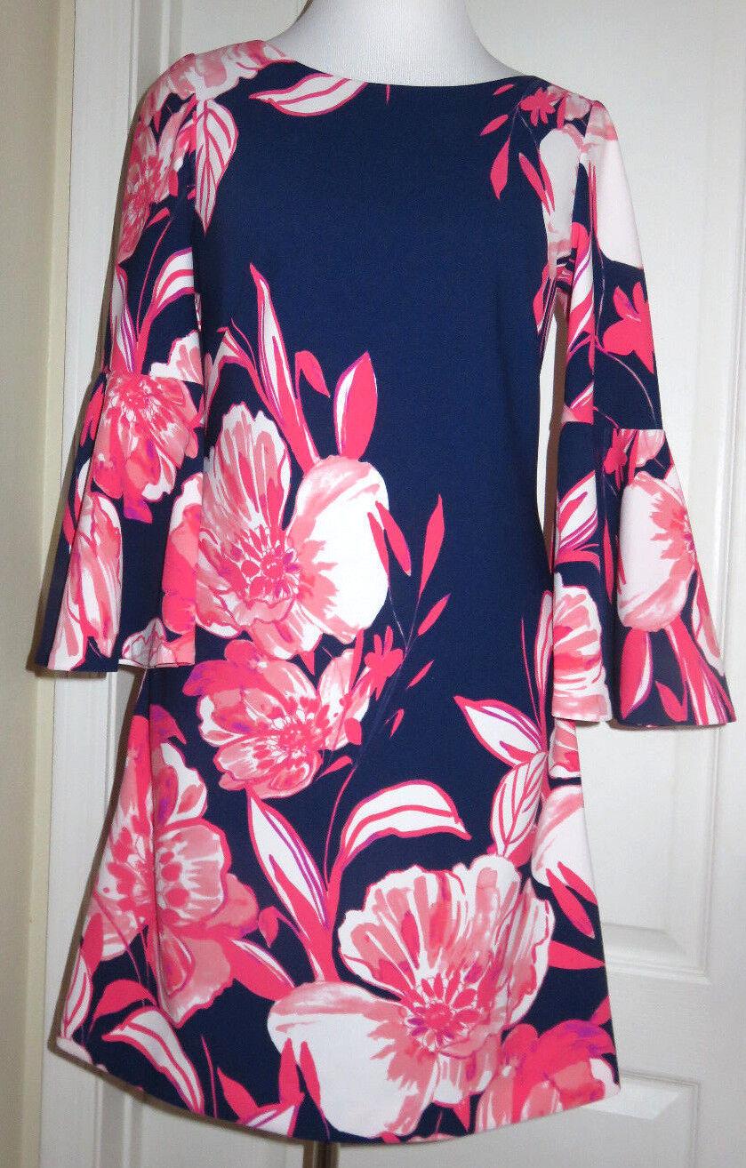Eliza J Blau Rosa Floral Print Shift Flutter Bell Sleeves Dress Sz 4 8 NEW