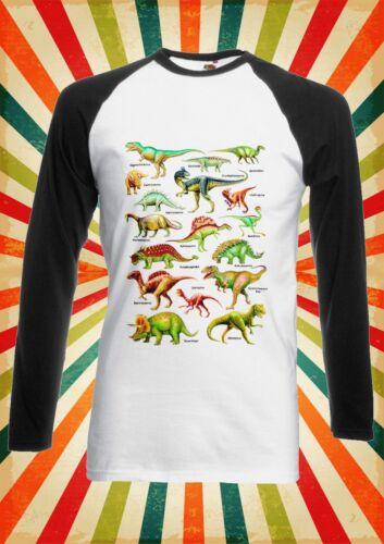 Dinosaurs Names Kinds Funny Men Women Long Short Sleeve Baseball T Shirt 1267