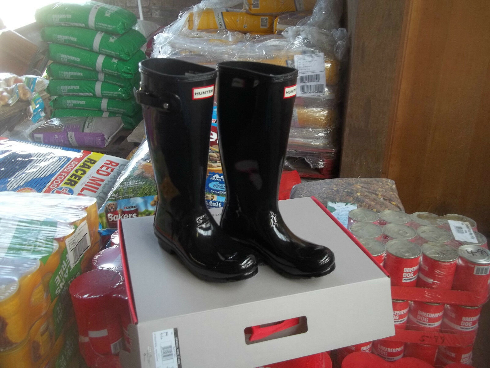 GLOSS HUNTER WELLIES WELLINGTONS IN HALIFAX SIZE 1  KIDS  BLACK GLOSS EU 33