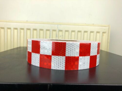 Red /& White High Intensity Chequer Reflective Tape Self-Adhesive 50mm×1 Meter