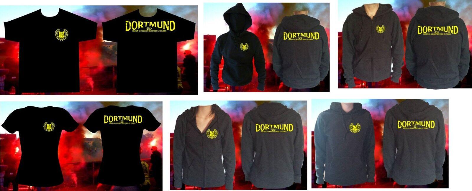 T-Shirt Kapu Sweatshirt Herren und Damen Dortmund hier geboren und sterben