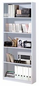 Estanteria-Oficina-Alta-5-Estantes-Blanco-Brillo-Libreria-Estudio-Comedor