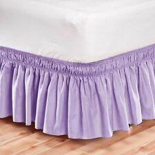 Elastic Bed Skirt Dust Ruffle Easy Fit Wrap Around Lavender Color Twin Size