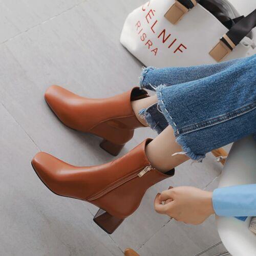 Winter Women Casual Zipper Squared Toe Ankle Boots Block Heels Chelsea Pumps