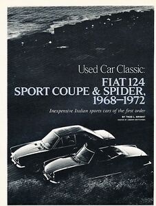 1968-and-1972-Fiat-124-Coupe-Spider-Original-Car-Review-Print-Article-J537