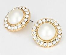 "1"" Big Gold Pearl Cream Crystal Stud Pierced Post Formal Bridal Pageant Earrings"