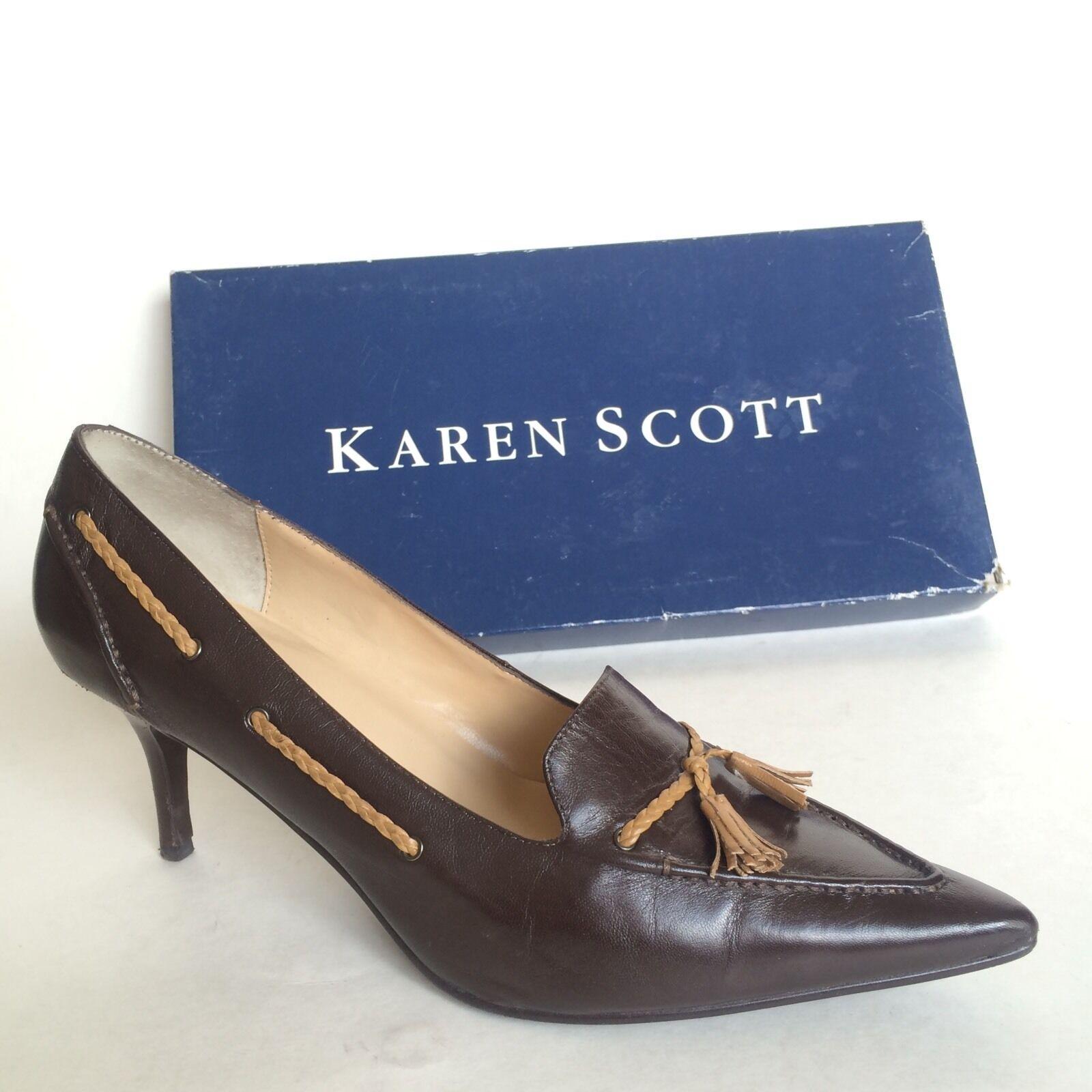 Karen Scott Womens Brown Leather High Heels Size 7.5 Chamber DK BRN   Camel LT