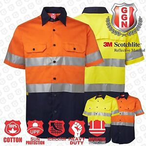 HI-VIS-SHIRT-SAFETY-COTTON-DRILL-WORK-WEAR-SHORT-SLEEVE-Air-Vents-UPF-50