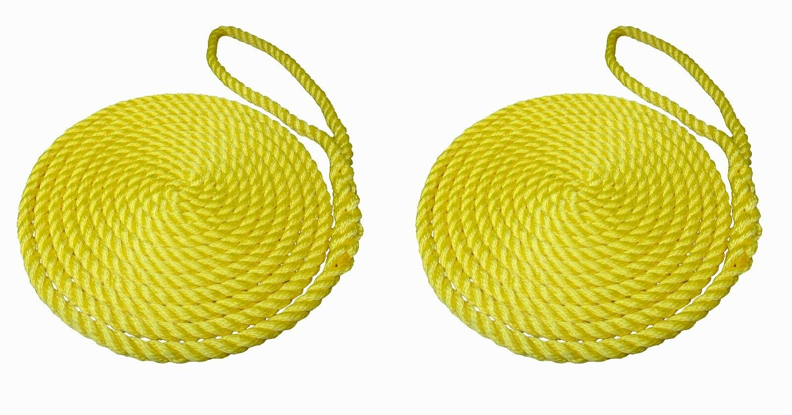 2 x 10 MTS OF 14MM YELLOW SOFTLINE MOORING ROPES   WARPS   LINES BOATS