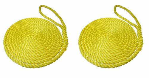2 x 10 MTS OF 14MM YELLOW SOFTLINE MOORING ROPES / WARPS / LINES BOATS