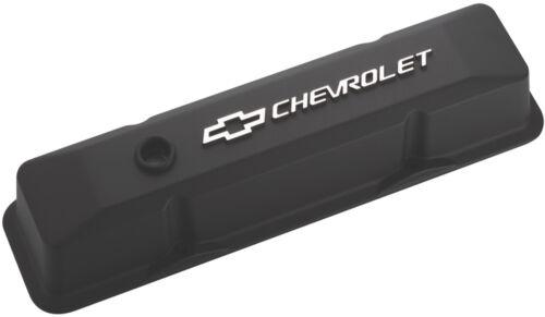 Proform 141-119 Small Block Chevy Tall Black Aluminum Valve Covers Chevy Logo