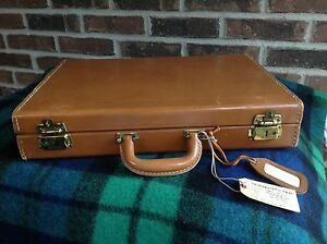VINTAGE-1970s-HARD-WOOD-BOX-BELTING-LEATHER-DEERSKIN-LINED-BRIEFCASE-BAG-R-898