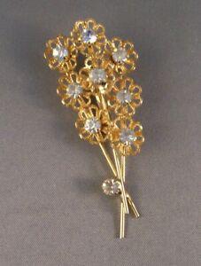 VINTAGE-3-STEM-FLOWER-PIN-BROOCH-Costume-Jewelry-Gold-tone-Metal-Rhinestones