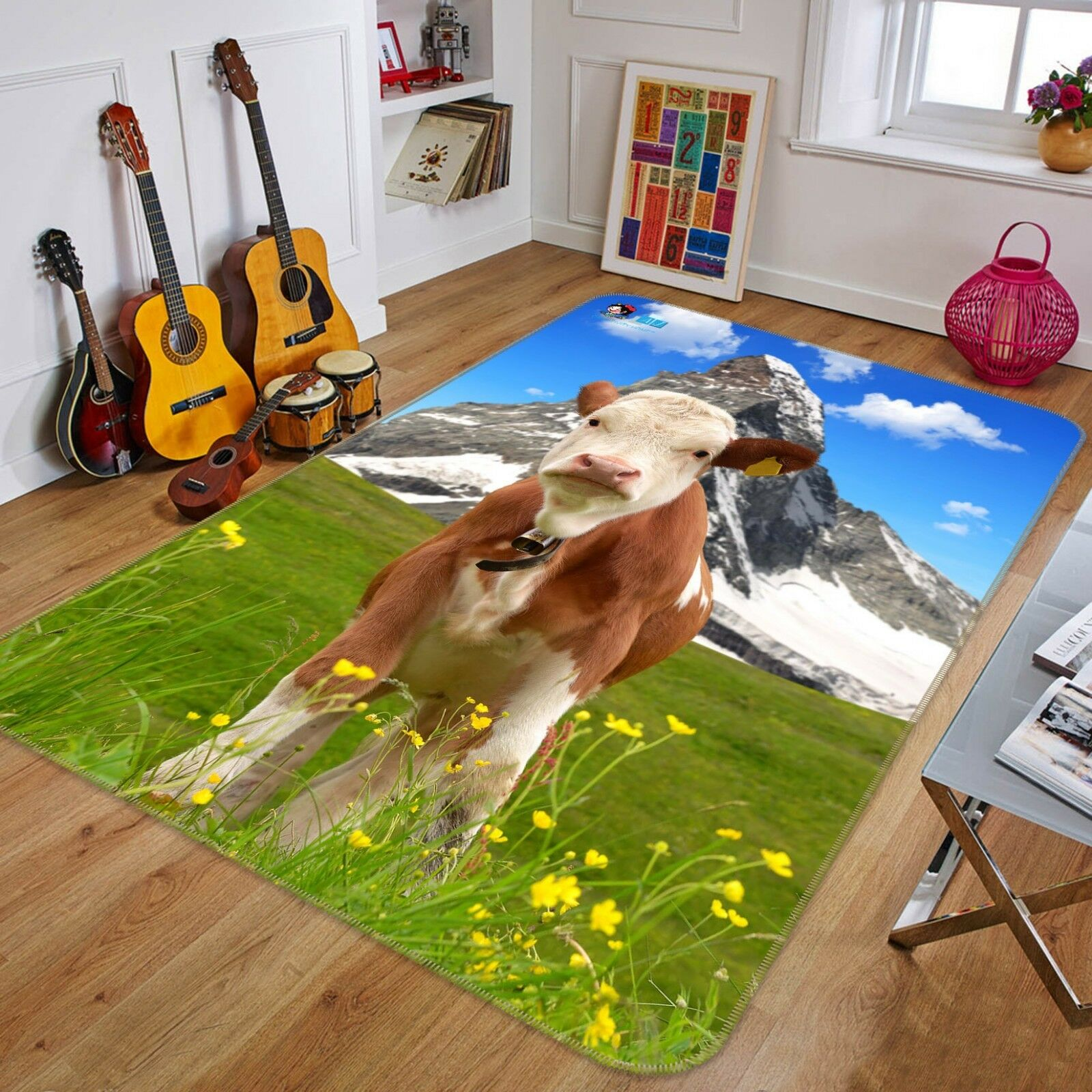 3D Cattle Grassland 02 Non Slip Rug Mat Room Mat Quality Elegant Carpet US Cobb