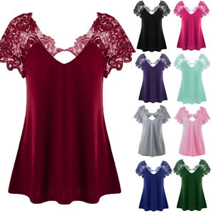 Women-039-s-Casual-Blouse-V-Neck-Lace-Trim-T-Shirt-Tops-Loose-Short-Sleeve-Plus-Size