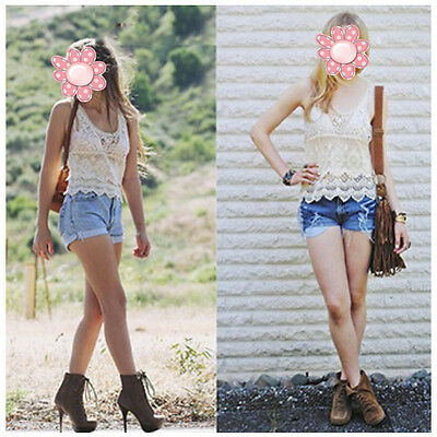 Womens Ladies Fashion Cute Hollow Crochet Lace Sleeveless T-shirt Tank Top Vest