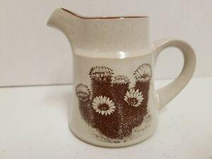 """Noritake Stoneware Pattern """"Desert Flowers"""" Creamer.  Tan Bowl Brown Cactus"""