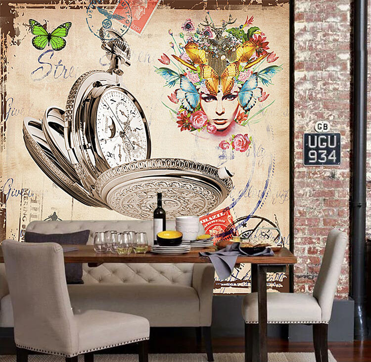 3D butterfly Watch Wall Paper wall Print Decal Wall Deco Indoor wall Mural
