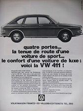 PUBLICITÉ DE PRESSE 1968 VOLKSWAGEN 4 PORTES VOICI LA VW 411 - ADVERTISING