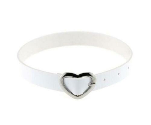 Women Punk Gothic Leather Choker Necklace Collar Heart Studded Buckle Neck Ring