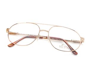 Vintage-Hilton-Monaco-307-C3-Pilot-Gold-Eyeglasses-Optical-Frame-Lunettes-57mm