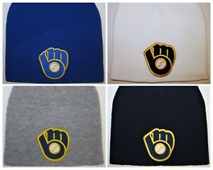 new style 29ddf 2cbef Image is loading Milwaukee-Brewers-Beanie-Knit-Cap-Hat-CLASSIC-MLB-