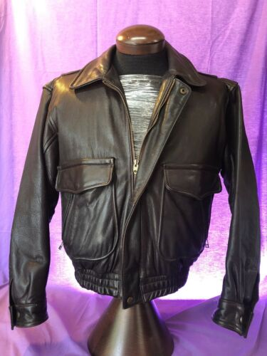 Mens Vintage BANANA REPUBLIC BROWN LEATHER BOMBER