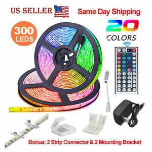 32-8-Feet-RGB-Waterproof-LED-Strip-Light-SMD-44-Key-Remote-12V-DC-Power-Kit-5050