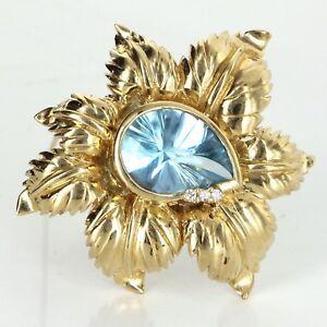 Blue Topaz Leaf Brooch Vintage 14k Yellow Gold Estate Fine Jewelry